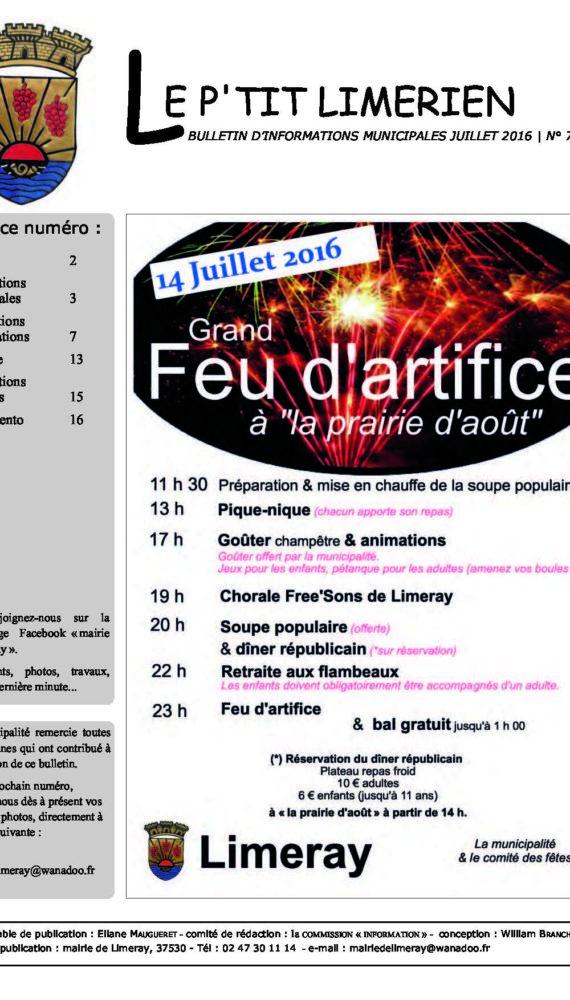 Bulletin municipal de Limeray - Juillet 2016